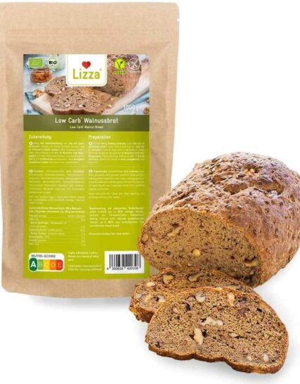 Lizza Low Carb Walnut Bread | Organic. Gluten Free. Vegan. High in Protein and Fibre | Suitable for Keto, Low Carb, Diabetic and Vegan Diet | 1 x 1kg Baking Mixture
