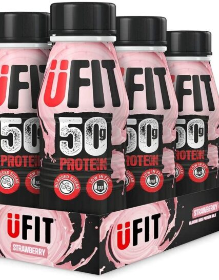 UFIT High 50g Protein Shake, No Added Sugar, Low Fat – Strawberry Flavour Ready To Drink (Pack of 6 x 500ml)