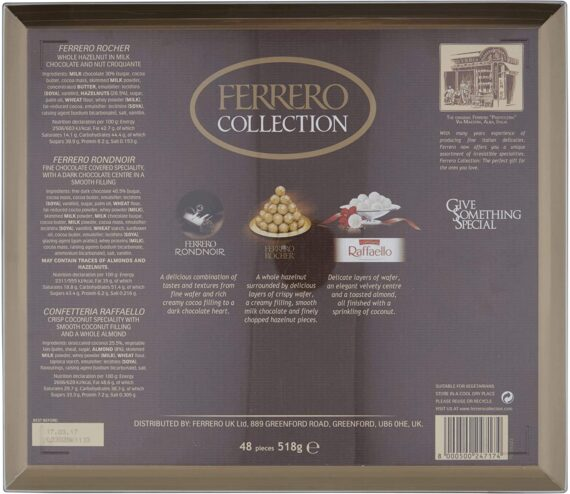 Ferrero Collection Chocolate Gift Set, Assorted Dark, Milk, Chocolate and Coconut and Almond, Box of 48 Pieces