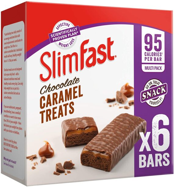 SlimFast Chocolate Caramel Snack Bar Multipack, 30 Bars, Pack of 5 Boxes