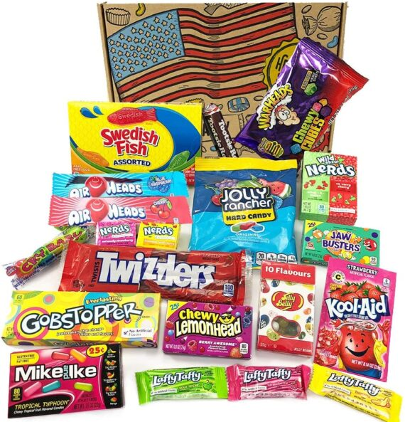 Vegetarian American Sweets & Candy Selection Box - Large! Kool-Aid, Jolly Ranchers, Laffy-Taffy, Nerds & More! Classic USA Retro Sweet Gift Hamper Box from Heavenly Sweets UK.