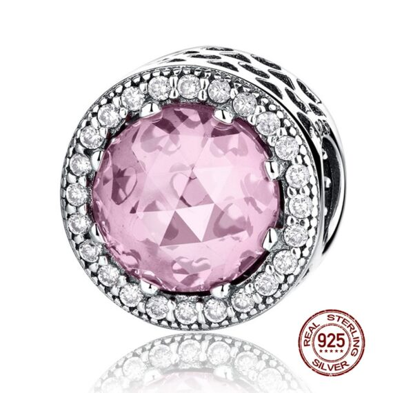 100% Real 925 Sterling Silver Pink Blue Colors Crystal Radiant Round Charm Fit Original Bracelet Authentic Glass Jewelry Gift