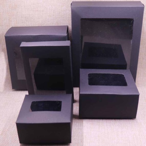 10 Pcs DIY Vintage color Kraft paper gift box package with clear pvc window candy favors arts&krafts display package box