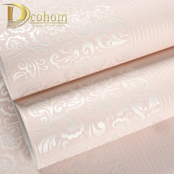 10M Home Improvement wall paper modern Fashion Non-woven Flocking Wallpaper Rolls for bedroom background wall 5 Colors R19