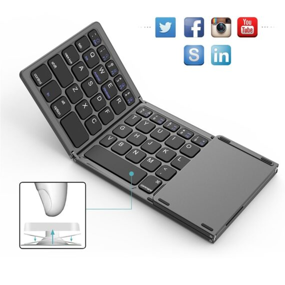 AVATTO B033 Mini Folding keyboard, Foldable Wireless Bluetooth Keyboard with Touchpad for Windows,Android, ios Tablet ipad Phone