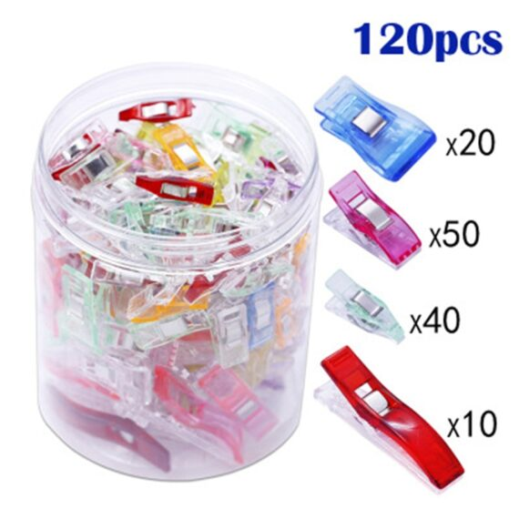 MIUSIE 48/100/120pcs DIY Patchwork Plastic Clothing Clips Holder For Fabric Quilting Craft Sewing Knitting Garment Clips