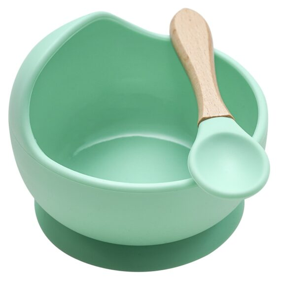 22colors!!1set Silicone Baby Feeding Bowl Set Baby Learning Dishes Suction BowlSet Wood Spoon Non-Slip
