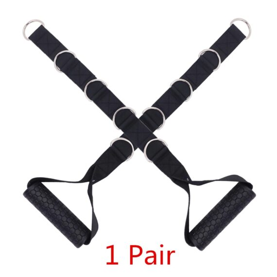 1 Pair Gym Resistance Bands Handles Anti-slip TPR Grip Strong Nylon Webbing Fitness Heavy Duty Cable Machine Workout Equipment