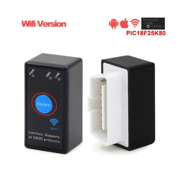 ELM327 WiFi PIC18F25K80 Chip V1.5 Power On/Off Switch Button 4MHz OBDII Diagnostic Tool IOS/Android ELM 327 Icar2 OBD2 Scanner