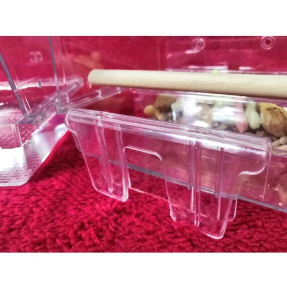 Practical Acrylic Transparent Pet Parrot Bird Feeders Cage Hanging Bird Feeder Tray Automatic Bird Feeders Cage Accessories