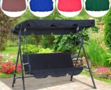 3 Seat Garden Swing Chair Canopy Cover Shade Sail Waterproof UV Resistant Outdoor Courtyard Hammock Tent Swing Top Cover NO Fade