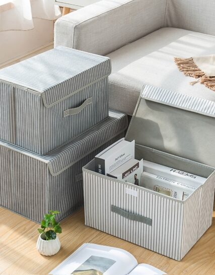 New Large Cube Non-Woven Folding Storage Box For Toys Organizers Fabric Storage Bins With Lid Home Bedroom Closet Office Nursery