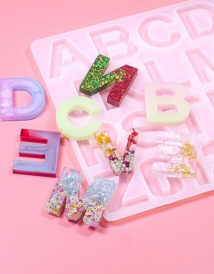 Letter A to Z Mold Alphabet & Number Silicone Molds Initial Mold Large Clear Resin Mold Epoxy Resin Craft Supplies (36 Cavity)