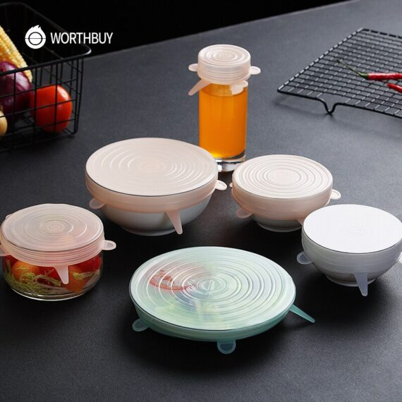 WORTHBUY 12 Pcs/Set Silicone Food Cover Cap Universal Silicone Lids For Cookware Reusable Stretch Lids Kitchen Accessories
