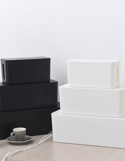 Cable Storage Box Power Socket Black White Cable Tidy Storage Box Power Switch Easy for Home Safety
