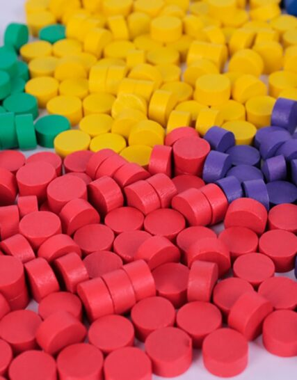 100Pcs 9 Colors Wooden Game Pieces Colorful Chess Pieces For Games Accessories 10*5MM