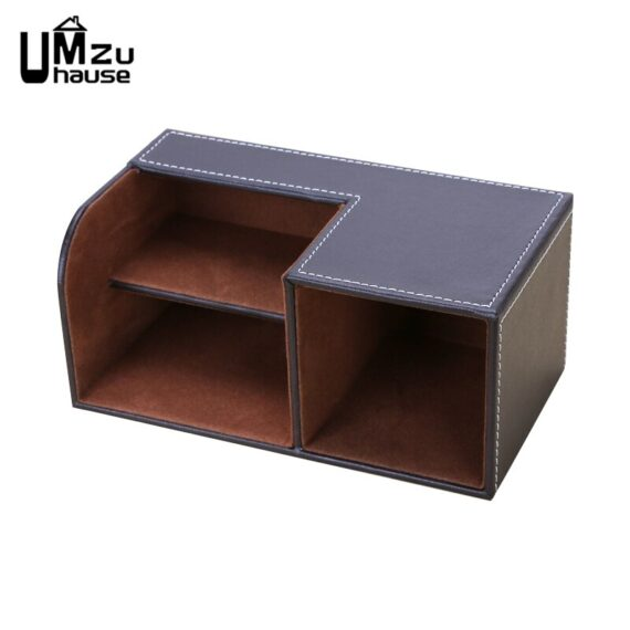 Elegant Leather Pencil Pen Case Storage Boxes Stationery Divider Holder Business Organizers Table Desk Home Office Organization