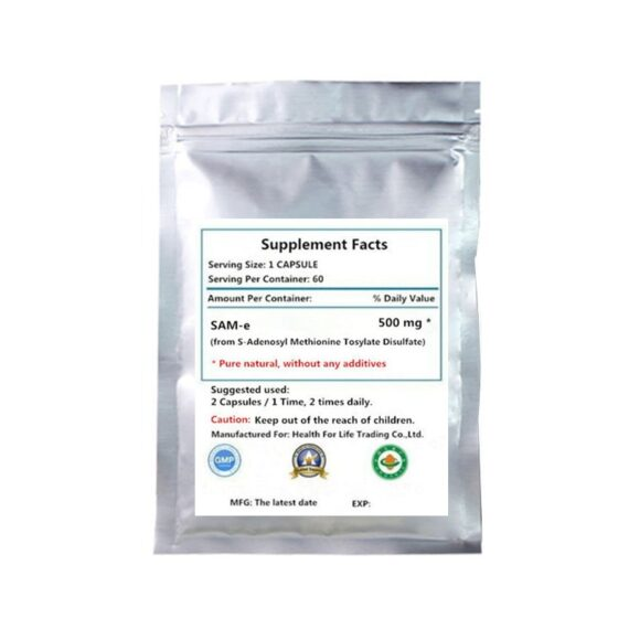 Pure SAM-e 500mg Supplement - 60 PCS - SAMe (S-Adenosyl Methionine) to Support Mood, Joint Health, and Brain Function
