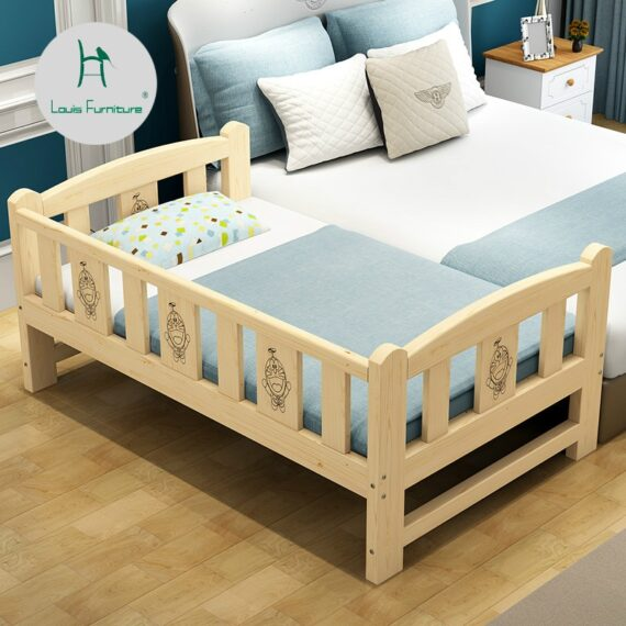 Louis Fashion Children Beds Solid Wood with Guardrail Small Infant Bedside Single Widening and Splicing Big