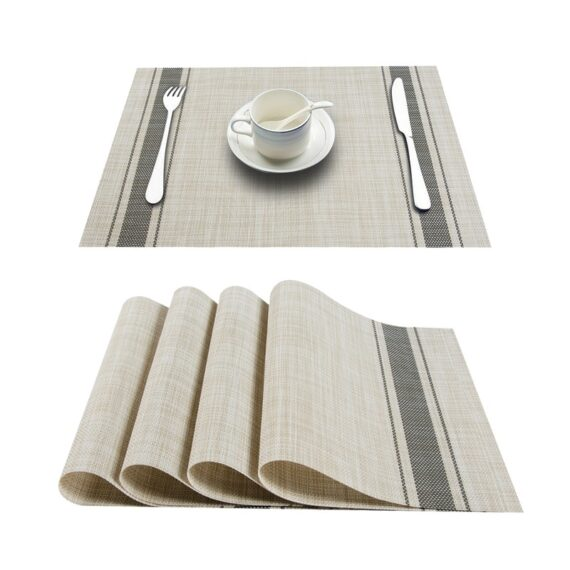 Topfinel Set of 4 PVC Washable Placemats for Dining Table Mat Non-slip Placemat Set in Kitchen Accessories Cup Coaster Wine Pad