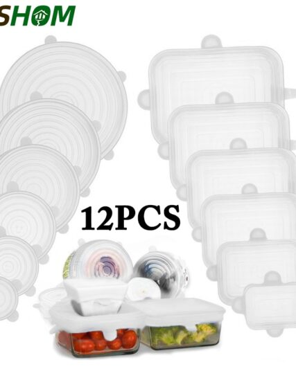 6/12PCS Reusable Silicone Caps Food Cover Adjustable Stretch Bowl Lids Kitchen Wrap Seal Fresh Keeping Cookware Accessories