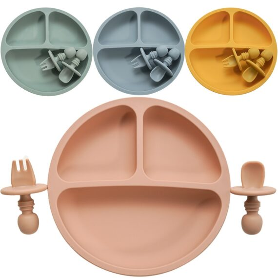 Fashion Solid Silicon Plate Set For Baby Kids Training Feeding Dinnerware Baby Learning Plate Set With Fork Spoon BPA Free