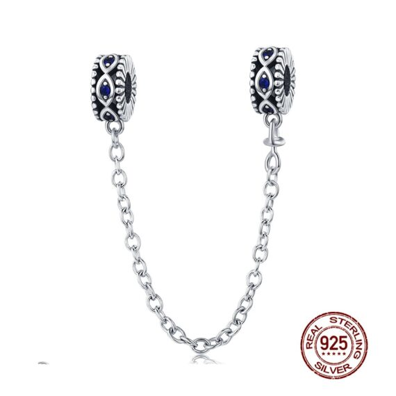 Hot Sale 100% 925 Sterling Silver The Key to Heart Silicon Safety Chain Charm Fit Wostu Original Beads Bracelet Jewelry CQC606