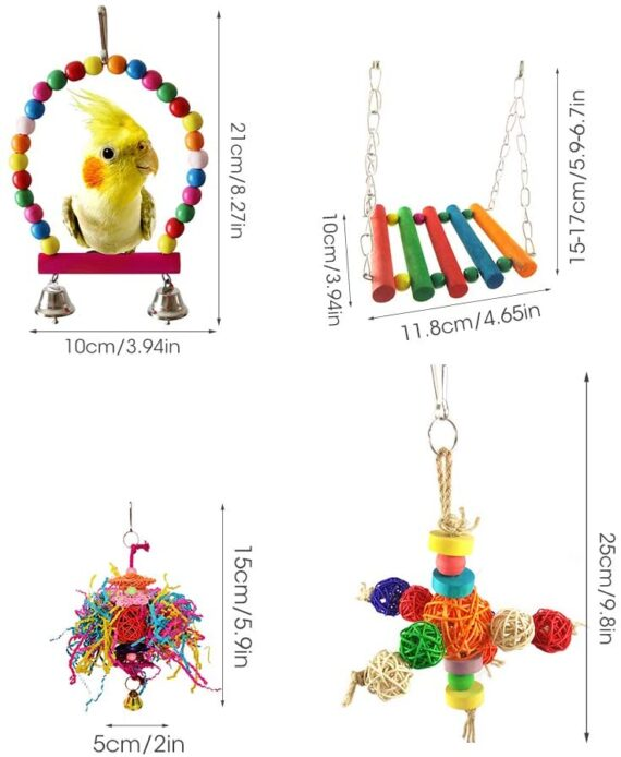 8PCS Parrot toys Birds Toys Swing Bird Hanging Chewing Toy Birds Cage Toy Swing Bell Bird Parakeet Cage Accessories Pet Supplies